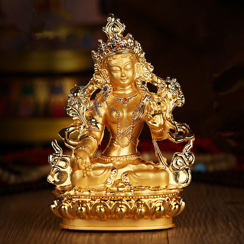 Efficacious Green Tara Tranic Gilding 14cm Gold Buddha Alloy Metal Buddhist Suppliers Home/ Office Decorate Statue Craft