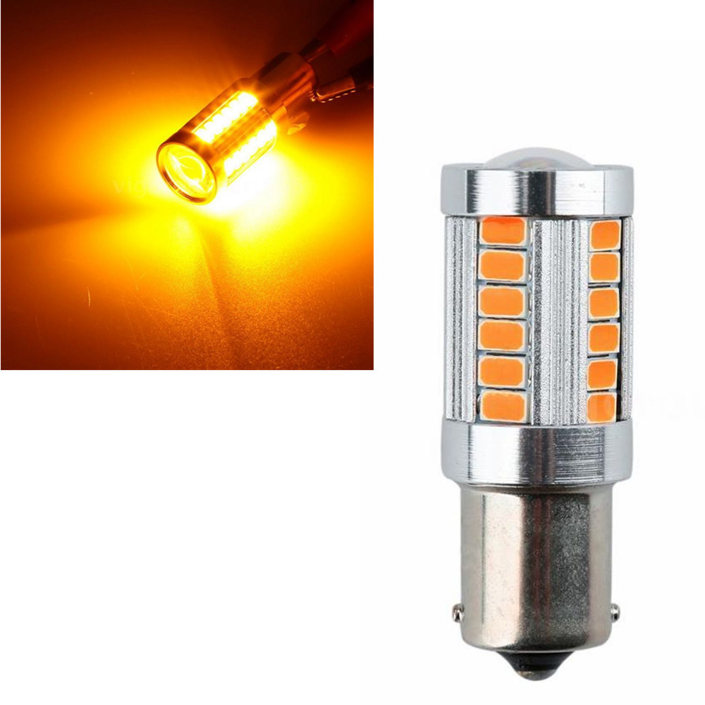 CYAN SOIL BAY 5630 33SMD LED Car Turn Signal Brake Tail Light Bulb 1156 Socket Amber Yellow Orange BA15S P21W Fog Lamp 12V 10x car 9 smd led 1156 ba15s 12v bulb lamp truck car moto tail turn signal light white red blue yellow ba15s 1156 aa
