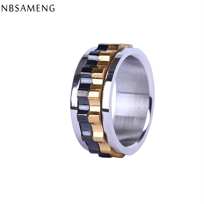 unique design men ring moveable gear 316l stainless steel charming ring for men wholesale yk5137 - Gear Wedding Ring