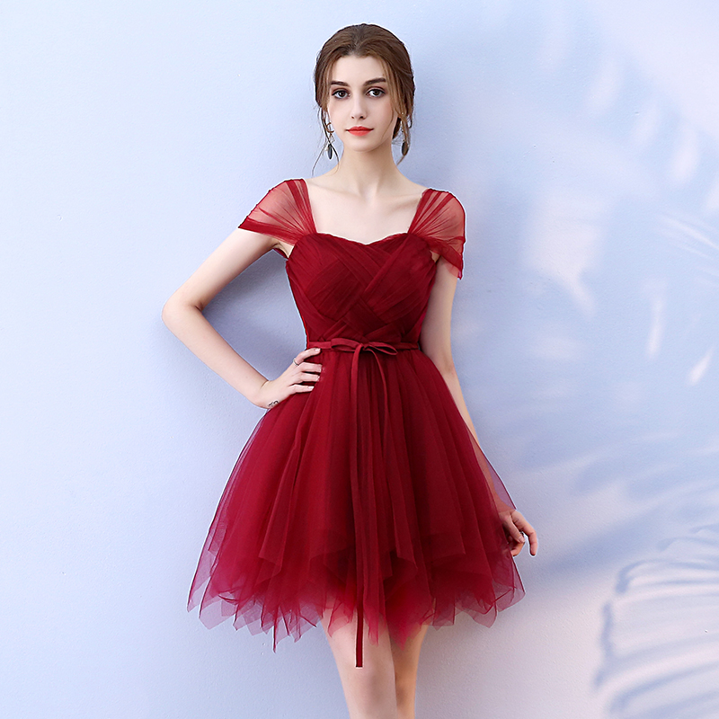 Short Wine Red Burgundy Lace Bridesmaid Dresses 2019 For