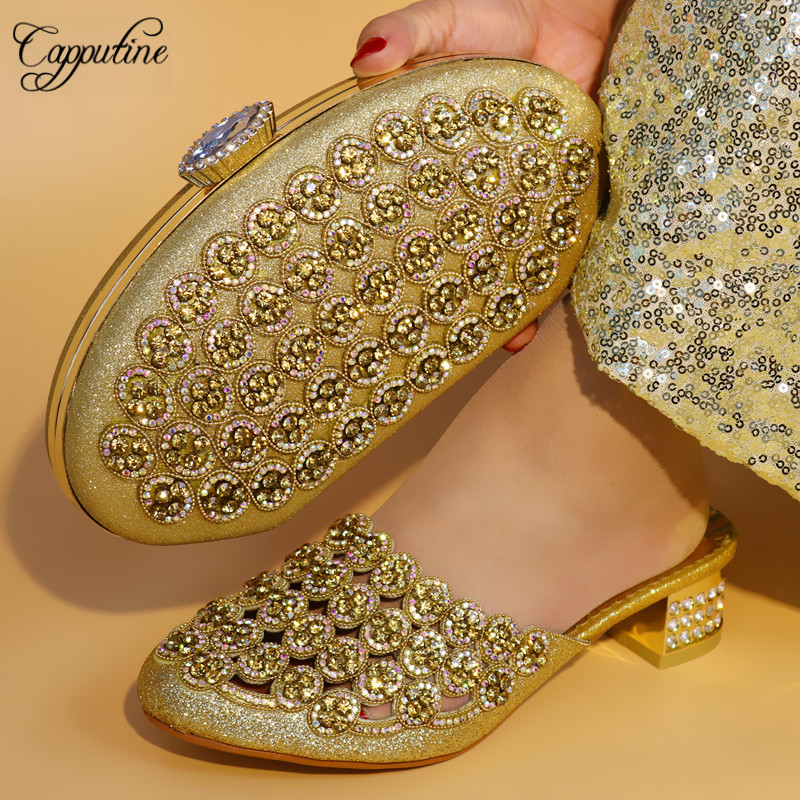 Capputine New Design Summer Rhinestone Gold Color Woman Shoes And Bag Set African Low Heels 5C Shoea And Bag Set For Party capputine nigerian style woman yellow shoes and bag set for party african rhinestone middle heels shoes and bag set size 37 43