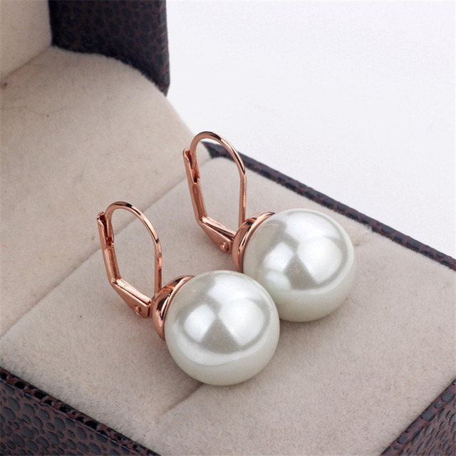 MOONROCY Free Shipping Fashion Crystal Earrings Jewelry Wholesale Rose Gold Color Imitation Pearl Earrings for Women Gift