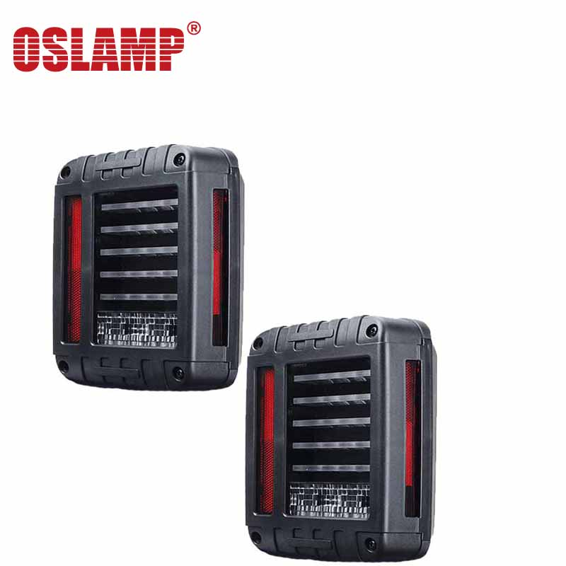 ФОТО Oslamp 66w/pair EU Version 12V LED Brake Tail Light for Jeep Wrangler JK 2007-2016 4x4 4WD Reverse Backup Lamp Red White