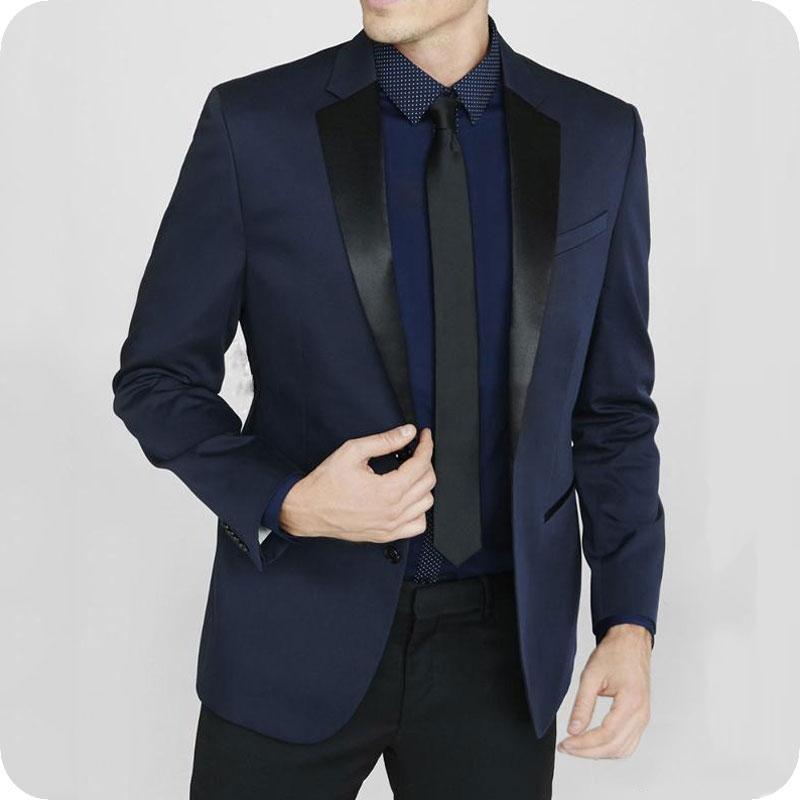 Navy Blue Men Suits Wedding Suits Formal Ceremony Bridegroom Groom Tuxedos Best Man Blazer Prom Slim Fit 2piece Terno Masculino