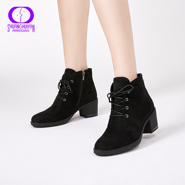 Ankle Boots Suede Leather Short Booties Lace Up Boots Women With Fur Shoes