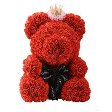 Drop Shipping 40cm Big Red Teddy Bear Rose Flower Artificial Christmas Gifts for Women Valentines Day Gift Party Decoration
