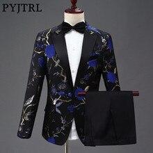 PYJTRL ใหม่ออกแบบ Mens Stylish เย็บปักถักร้อย ROYAL BLUE สีเขียวรูปแบบดอกไม้สีแดงชุดเวทีนักร้องงานแต่งงานเจ้าบ่าว Tuxedo เครื่องแต่งกาย