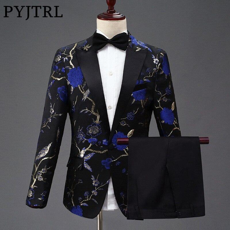 PYJTRL Novo Design Mens Elegante Bordado Azul Royal Verde Padrão Floral Vermelho Ternos Noivo Do Casamento Do Smoking Singer Traje