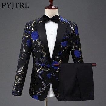 e0f7b59c1 PYJTRL nuevo diseño hombres elegante bordado azul real verde rojo Floral  patrón trajes escenario cantante boda novio esmoquin traje
