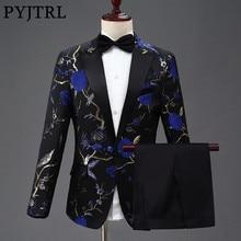 PYJTRL мужские костюмы с цветочной вышивкой Королевского синего, зеленого и красного цветов, сценический певец, свадебный смокинг для жениха