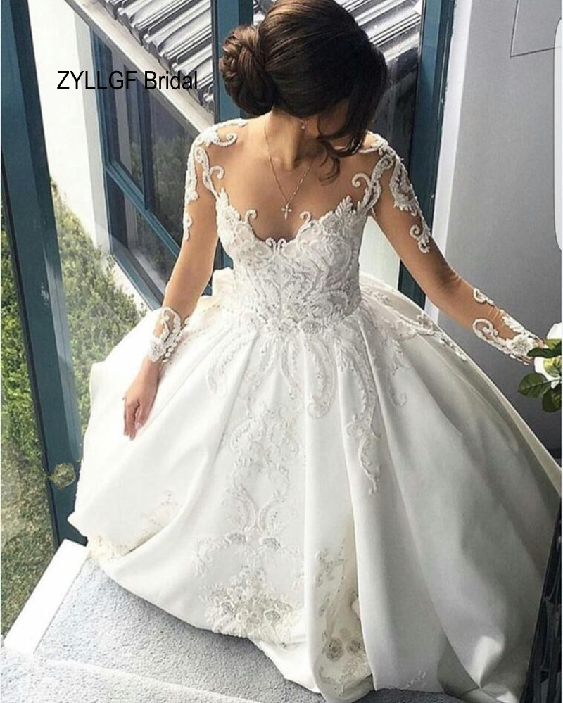 Long Sleeved Wedding Dresses.Us 359 0 Zyllgf Bridal Sexy See Through Long Sleeved Wedding Bridal Dress Appliques Big Train China Wedding Dresses Imported Ta47 In Wedding Dresses