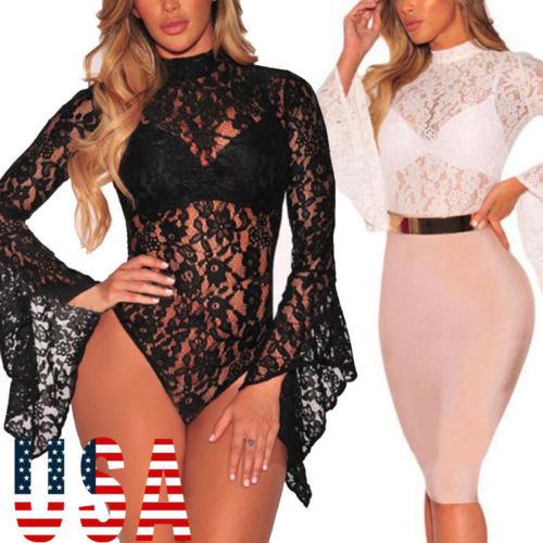 2020 New Fashion Hot Sexy Charming Women Lace Babydoll Long Sleeve Romper Nightwear Bodysuit Sexy Tops