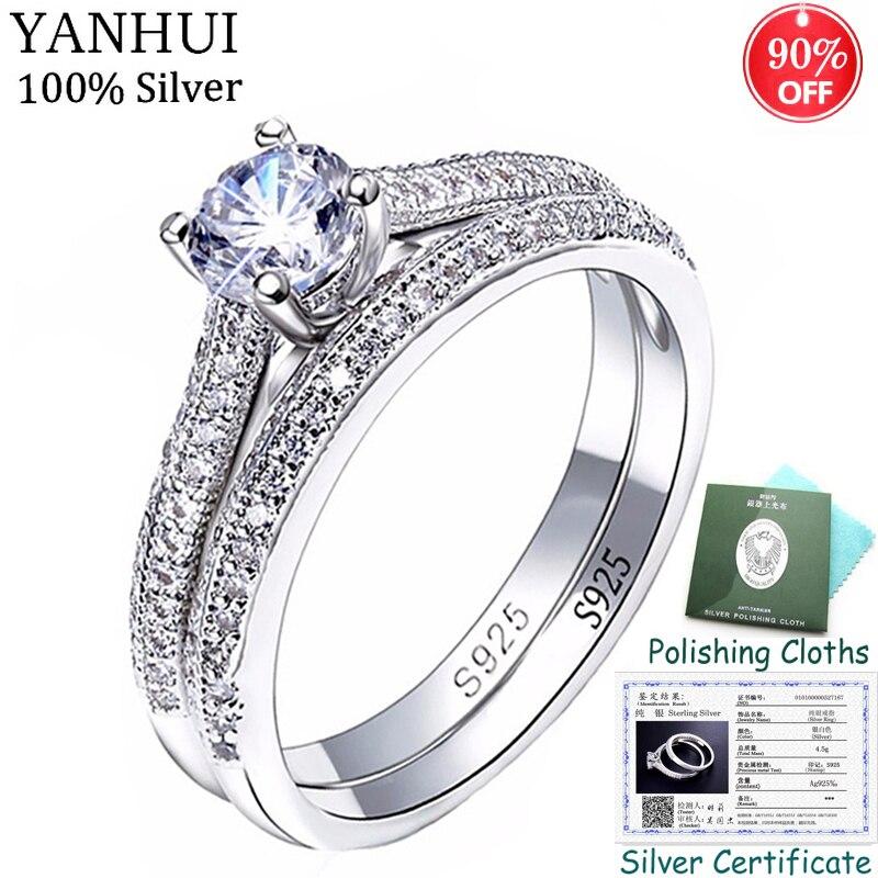 ¡Envió certificado! Joyería Fina 100% Original 925 conjunto de anillos de plata para mujeres circón cúbico compromiso anillos de boda conjunto de regalo CR131