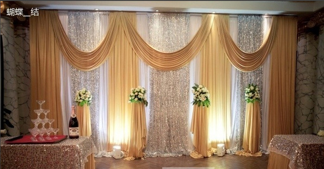 2017 Wedding Backdrops For Decoration Le Stage Drape Mariage Golden Backdrop Gold Curtain
