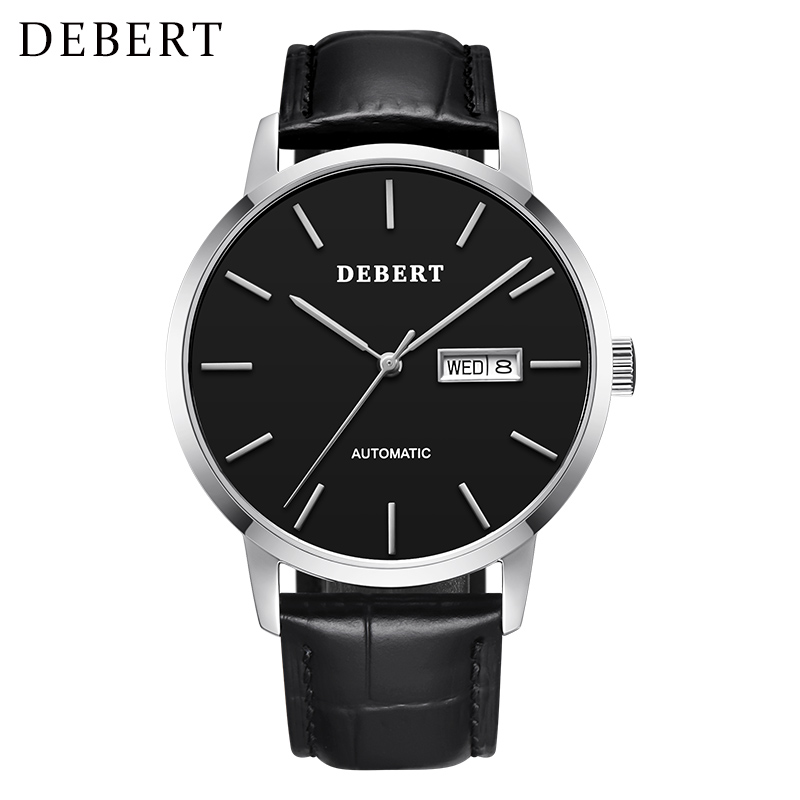 40mm Debert White Dial Sapphire Glass Rose Case Genuine Leather Strap Japan MIYOTA 8215 Automatic men watch 6013B-Leather strap holuns watch women sapphire glass white dial quartz waterproof multicolor red leather strap watch