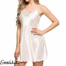Ladies Sexy Satin Night Dress Sleeveless Nighties V neck Nightgown Plus Size Nightdress Lace Black Sleepwear