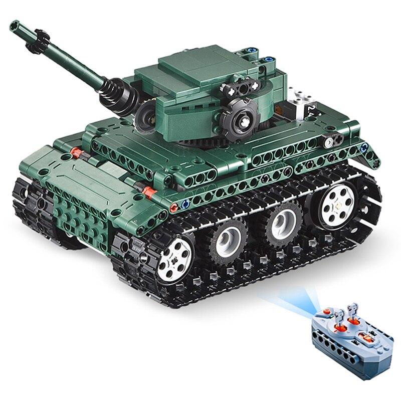 Kits de réservoir de tigre allemand de la série technique militaire RC, modèles de briques de construction compatibles avec des jouets pour enfants