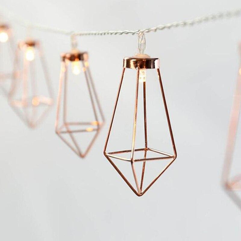 1.523 Meter Metal Lanterns Lamp Rose Gold Light String Garland Battery Powered Backyard Wire Light for Christmas Outdoor Decor (6)