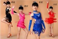 Free Shipping Sequin Fringe Blue Pink Black Red Salsa Dress Child Girls Kids Latin Dresses Girls