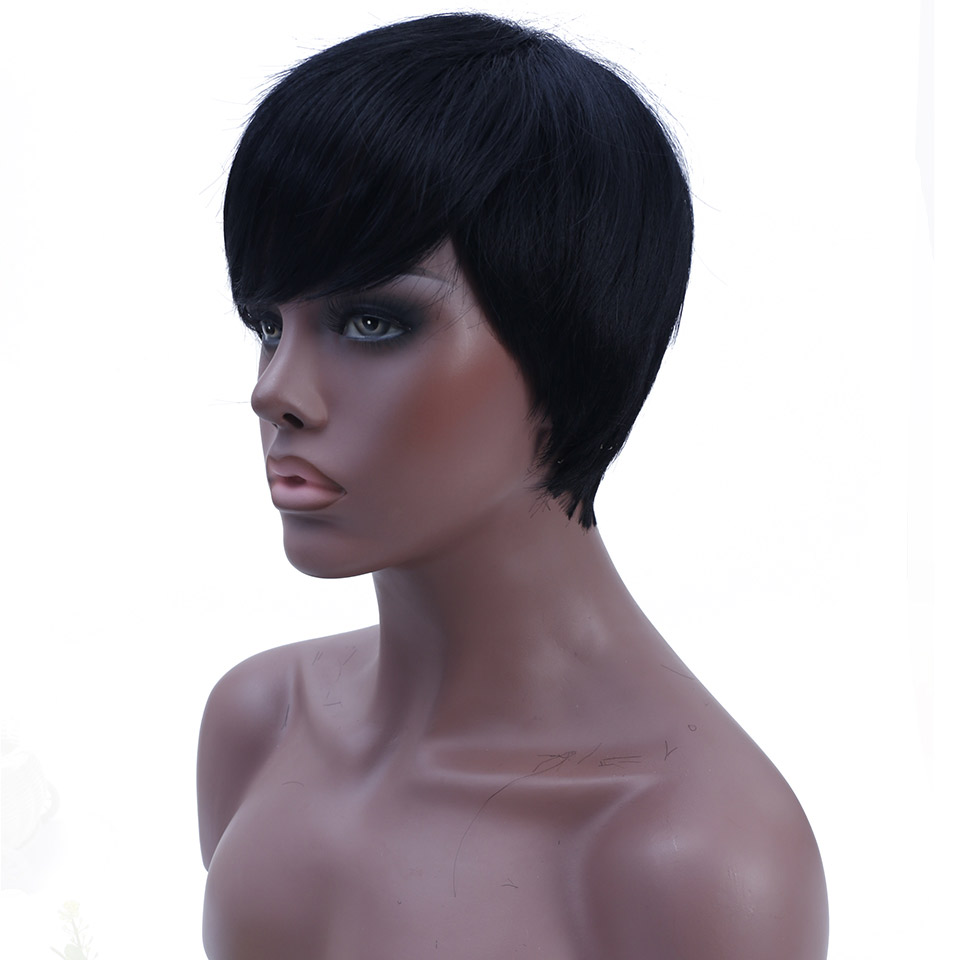 Short Straight Black Wig for Women With Side Parting Synthetic Natural Color Heat Resistant Wigs AOSIWIG