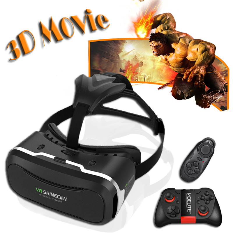 2016HOT! Original Shinecon VR 3D VR Virtual Reality Glasses Google Cardboard Movie Game for 4-6 inch SmartPhone+Remote