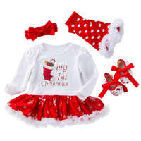 My First Christmas Girl Newborn Clothes For Newborns Girl 4Pcs Kids Clothing Newborn Baby Clothes Christmas Outfit Bebek Giyim