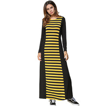 185404 Euramerica New Long Sleeve Stripped Dress Mujer Vestidos Hot Sell Musulman Dresses