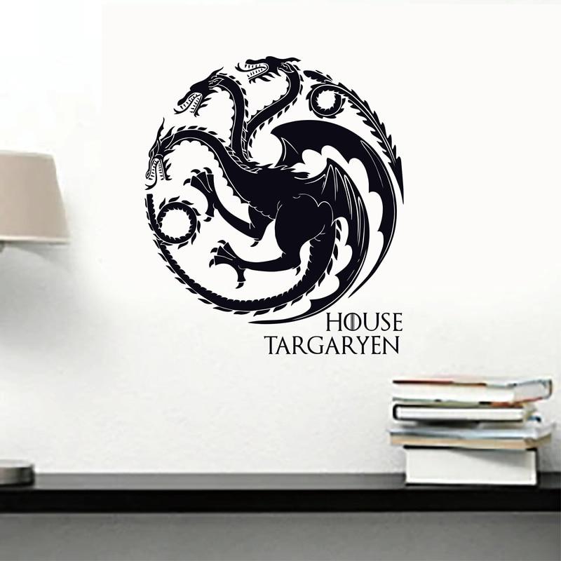 Game of Thrones House Targaryen Wall Decal Vinyl Art GOT Sigils Dragons Symbol Wall Sticker for Walls / Cars / Laptops