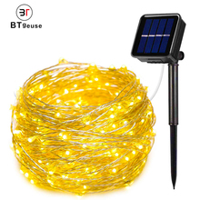 BTgeuse 100/200 LED Solar String Lights Waterproof Garland Copper Wire Lamps Fairy Garden Patio Christmas Wedding Deco
