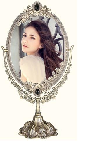 Rotate 360 degrees Table double sided antique bedroom makeup large desktop vanity European beauty salon mirror princess mirror