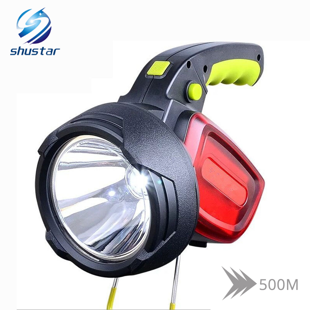 High Power Portable Led Flashlight Searchlight 3 Light Sources 12000 Lumen Torch White Light + Red Light Use 2 X 18650 Battery