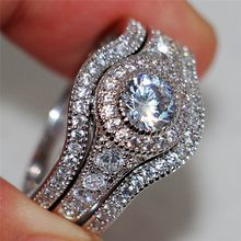 Luxury Female White Round AAA Zircon Ring Set Fashion 925 Silver Jewelry Promise Engagement Rings For Women(China)