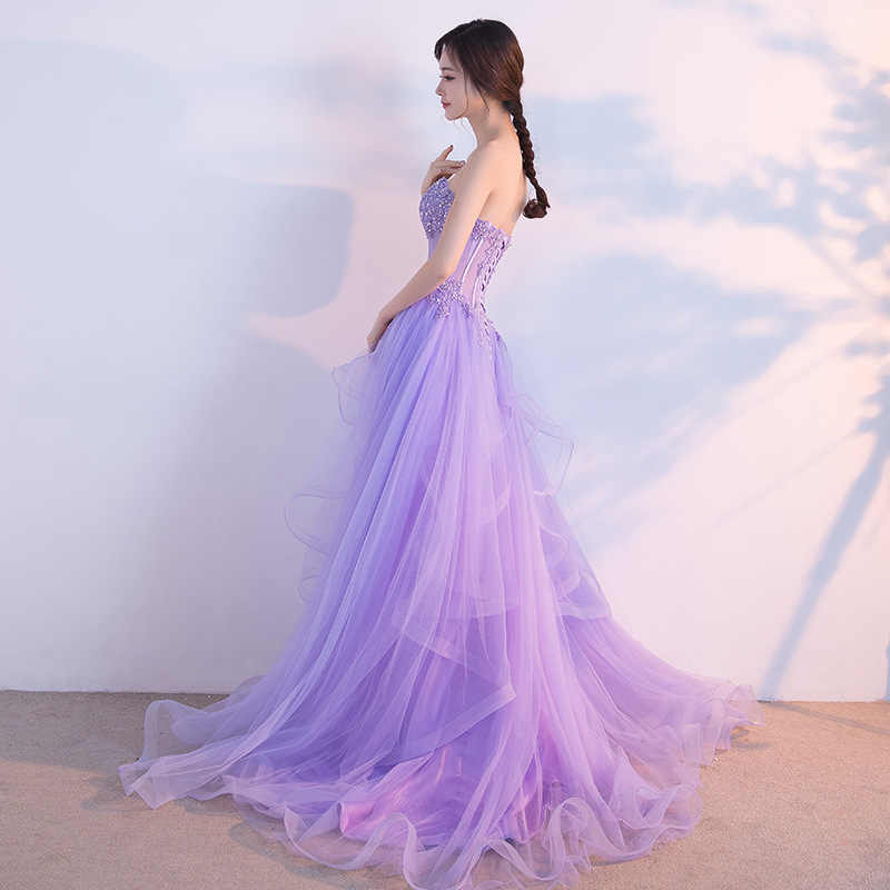 b38a2900 ... JaneVini 2018 Princess Beaded Prom Dresses Long Lace Sequins Light  Purple Wedding Party Gowns Bridesmaid Dress ...