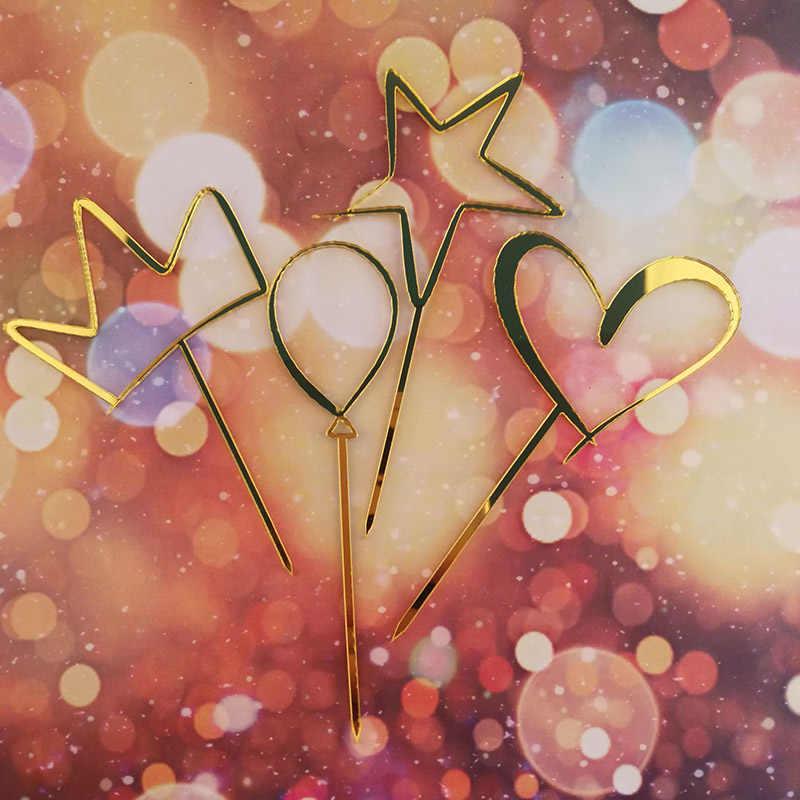 Rosa de Ouro Feliz Aniversário Acrílico Bolo Topper Rosa Do Amor Do Coração Do Bolo de Casamento Topper Para Bolo da Festa de Aniversário Decorações Do Chuveiro de Bebê