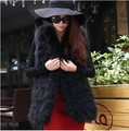 2017 new autumn winter female real ostrich turkey fur vest medium-long fur coat cotton-padded waistcoat for women