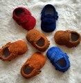 2016 Novo de Camurça de Couro Genuíno Sapatos Mocassins Macio Moccs Bebê Recém-nascido Bebe Prewalker Solado Macio Não-deslizamento Infantil Criança sapatos