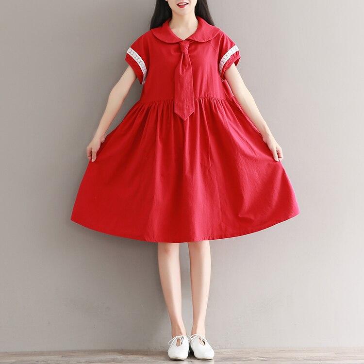 Mori Girl красное платье 2018 новые модные женские туфли короткий рукав летние платья Женский Питер Пэн воротник хлопок Vestidos M-XXL