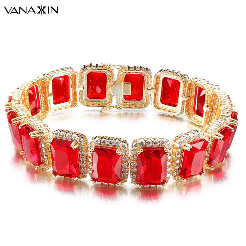 VANAXIN Rope Chain Combo Set Red Clear CZ Bracelets For Men Hip Hop White CZ Stone Male Jewelry High Quality Magnetic Bracelet