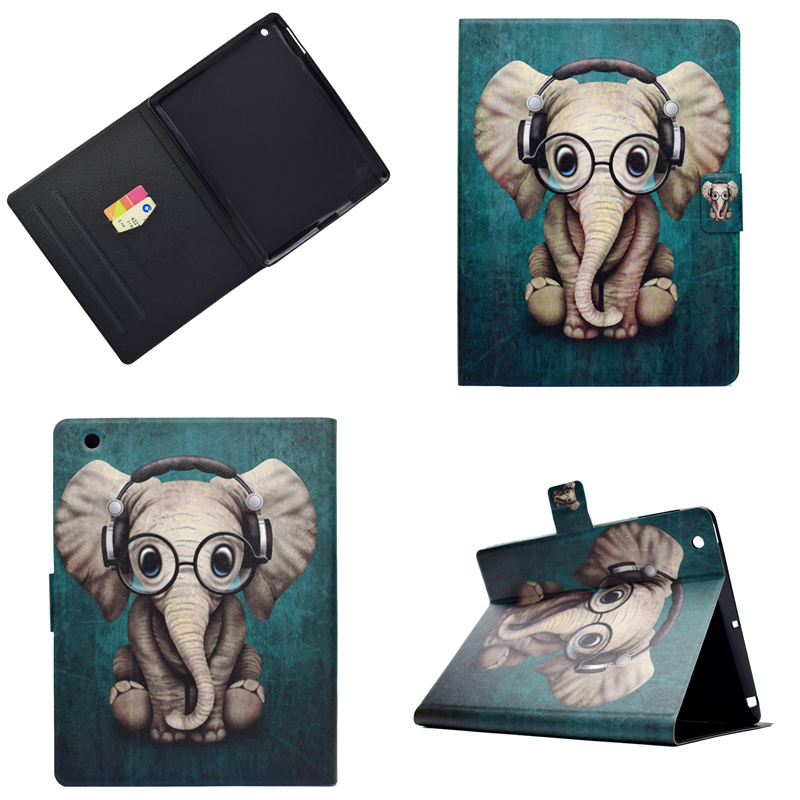 For Ipad 4 Cartoon OWI Elephant PU leather Stand Magentic Smart Cover For Apple Ipad 2 3 4 9.7inch Tablet Cover Coque