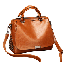 2019 Famous Brand Fashion Women Messenger Bags with Top-handle ,Ladies Vintage Rivet Crossbody Bags,Soft PU Leather Woman bags