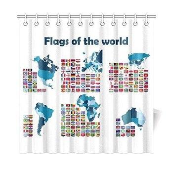 Vlaggen van de Wereld Kaart Home Decor Polyester Douchegordijn Badkamer Sets met Haken 72X72 Inches