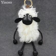 Yisoso big size 22cm Sheep Keychain Fur Really Sheepskin Wool Key Chain Women Bag Charms or Car Pendant Party Gifts YS046