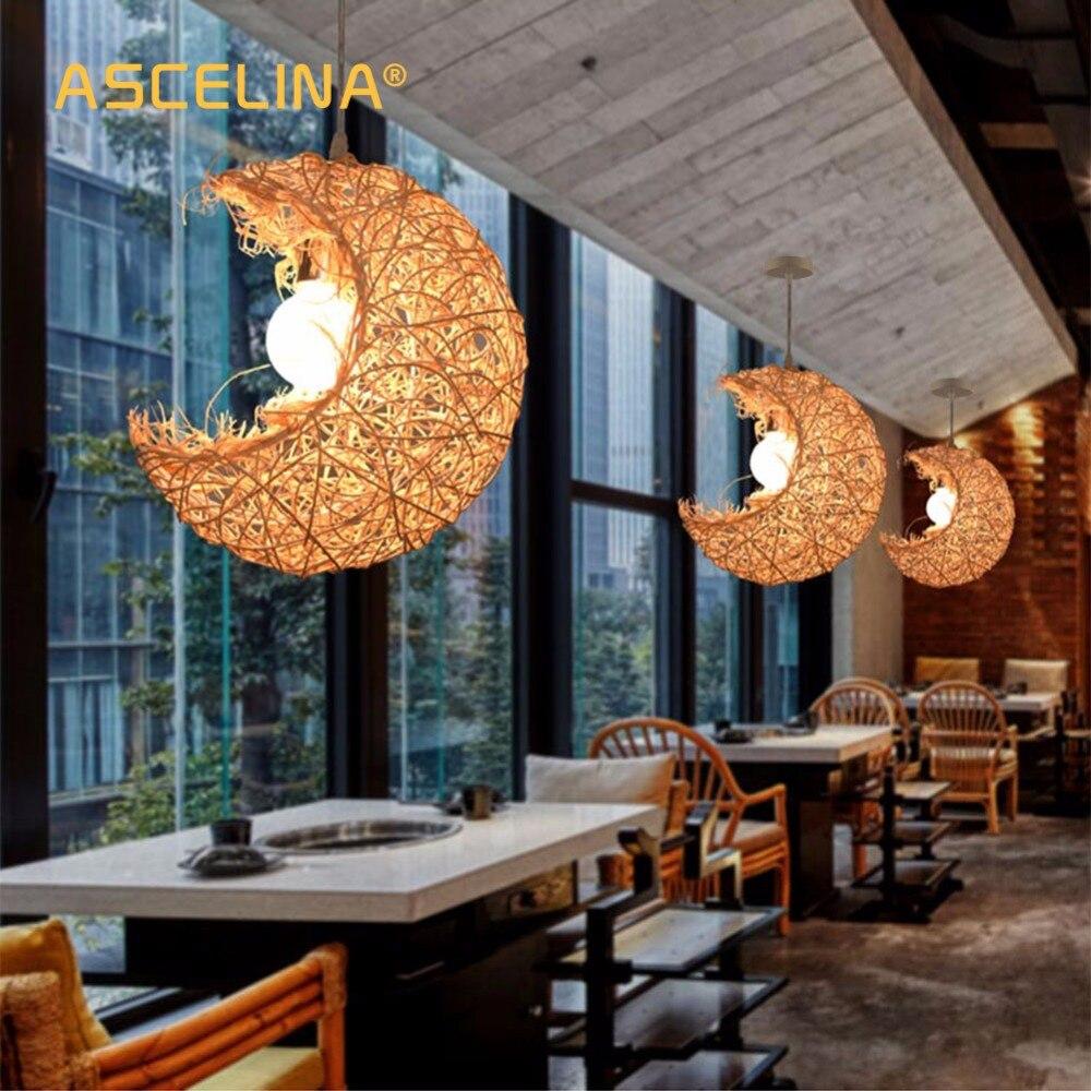 € 18.74 30% de réduction Lune pendentif lumière rotin pendentif lampe  tissage manuel américain rustique moderne chambre salon enfants décoration  ...