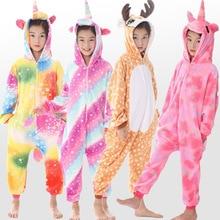 Купить с кэшбэком New children's pajamas boys and girls unicorn animal deer children's pajamas role playing winter warm children's pajamas Onesie