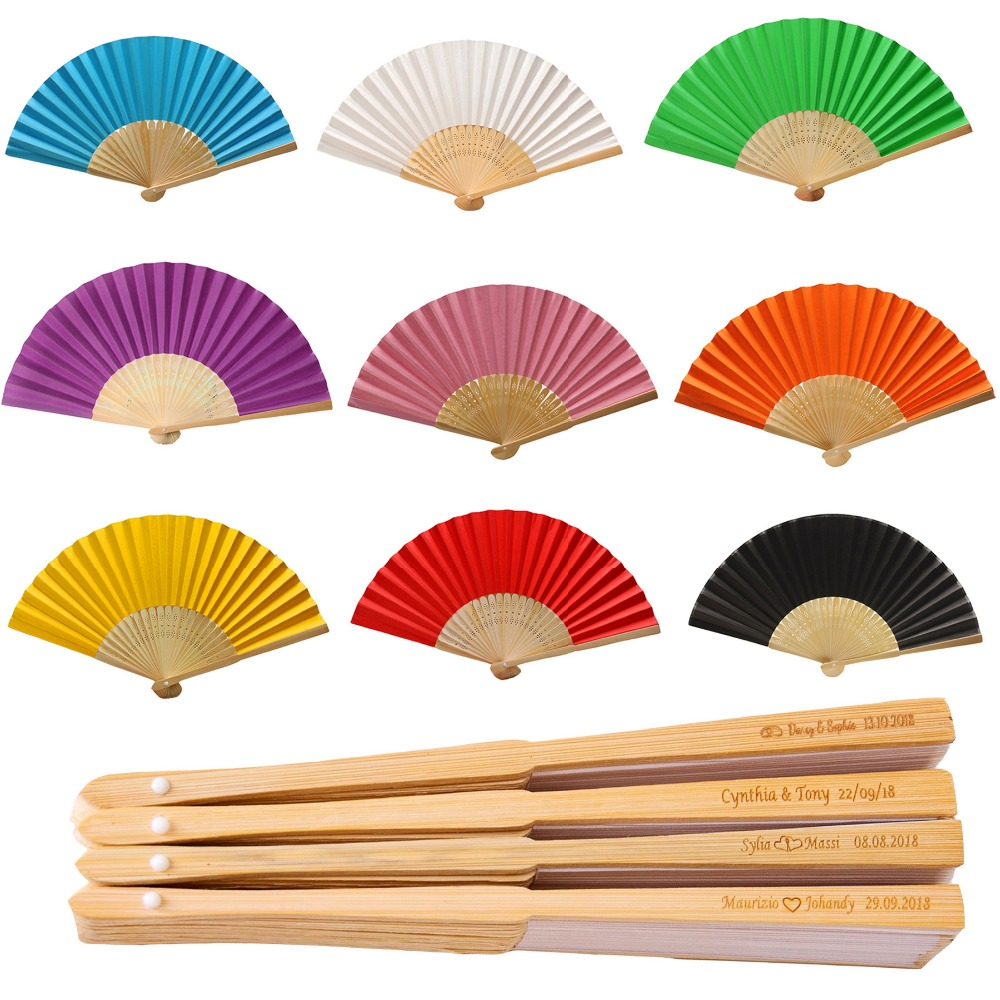 50Pcs Personalized Folding Paper Hand Fan Fold Vintage Paper Fans Wedding Party Favors Baby Shower Gift Wedding decoration fan(China)