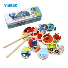 14 Fishes + 2 Fishing Rods Wooden Children Toys Fish Magnet Pesca Play Fishing Game Tin Box Kids Educational Toy Boys Girl(China)