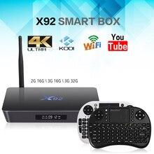Mesuvida X92 TV Box Amlogic S912 Android 6.0 Octa-core 2.4 GHz/5.8 GHz WiFi HD 2.0 avec USB2.0 SD Carte Smart TV Box 2G 16G 3G 32G