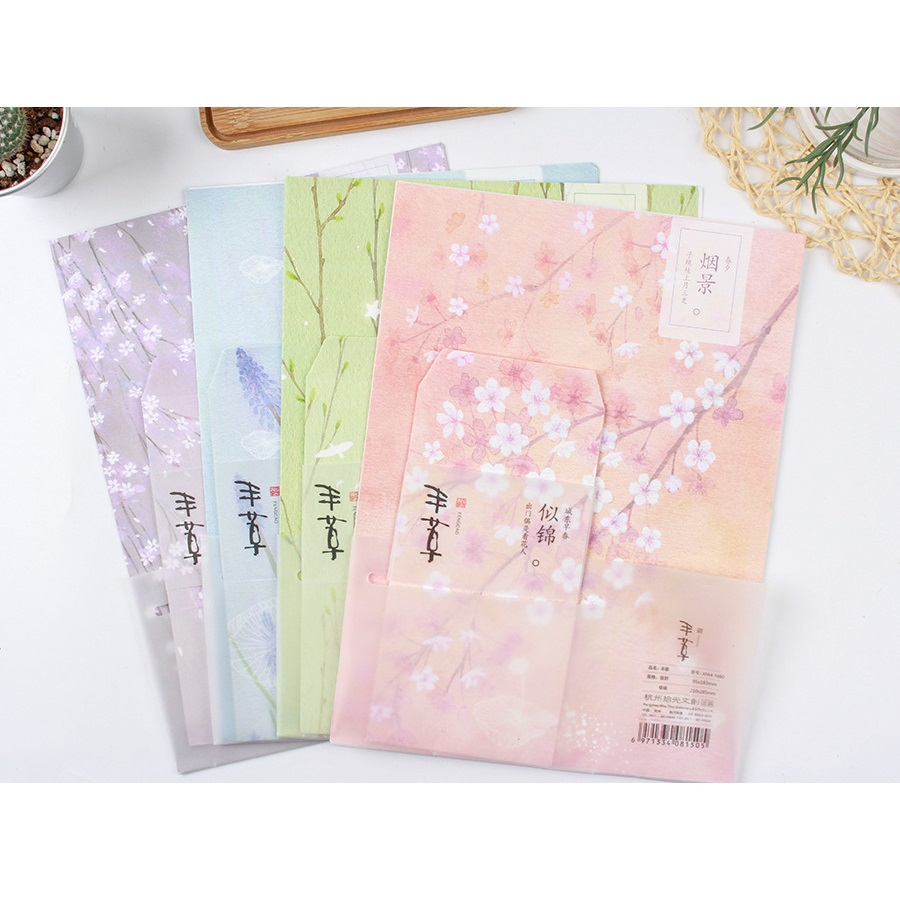 9 Pcs/Set 3 Envelopes+6 Letter Papers Plant Cherry Blossoms Letter Envelope Set Korean Stationery Christmas Gift