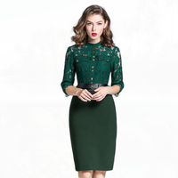 2017 Autumn Women O Neck Black Green Lace Pencil Dress Ladies Work Office Dresses Plus Size