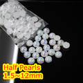 Jelly Pure White AB Color 1.5mm~12mm All Size Choice Flat back ABS round Half Pearl beads, imitation plastic half pearl beads